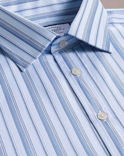 Classic fit sky blue multi stripe Egyptian cotton shirt