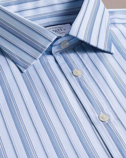 Extra slim fit sky blue multi stripe Egyptian cotton shirt