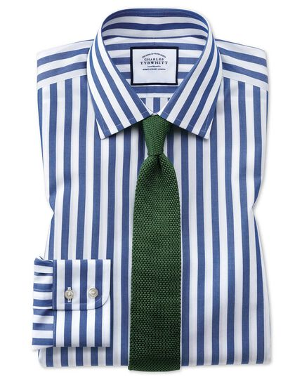 Slim fit non-iron blue wide bengal stripe shirt