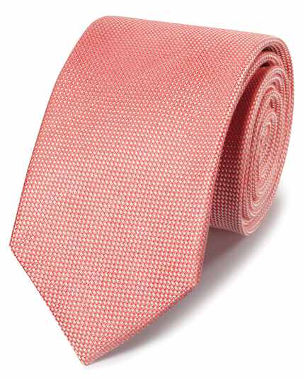 Cravate classique corail unie en lin et soie