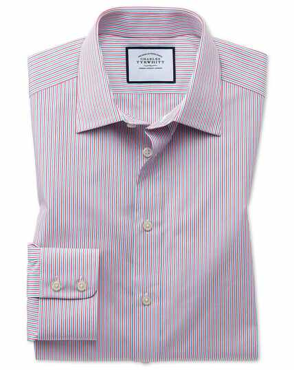 Extra slim fit Egyptian cotton poplin multi pink stripe shirt