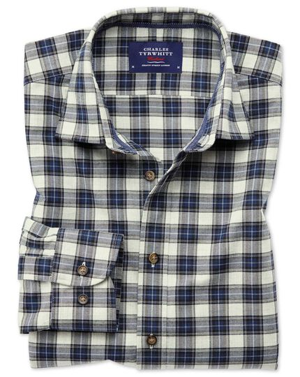 Classic fit heather tartan silver and blue check shirt