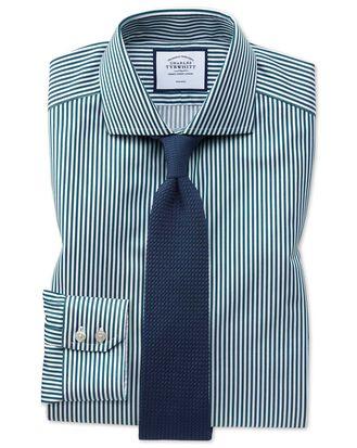 Extra slim fit non-iron spread collar teal twill stripe shirt