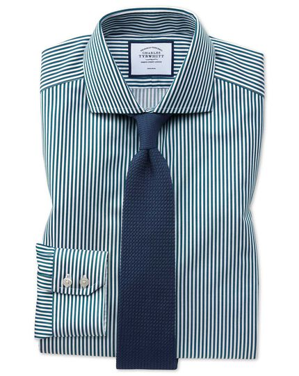 Extra slim fit non-iron cutaway collar teal twill stripe shirt