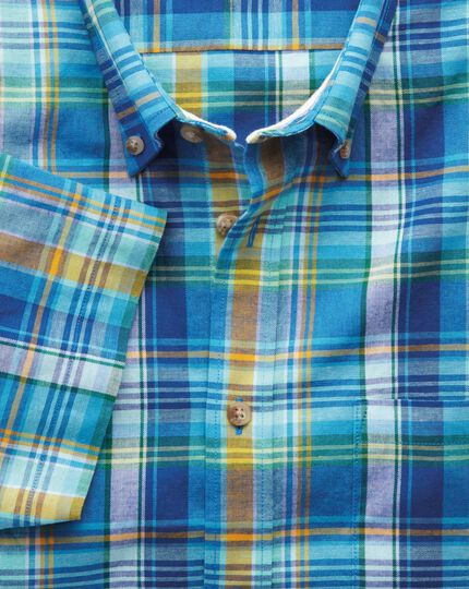 Classic fit short sleeve green and blue check shirt