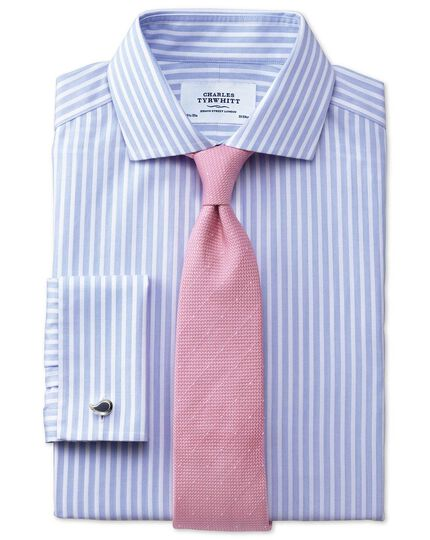 Slim fit cutaway collar non-iron stripe white and sky blue shirt
