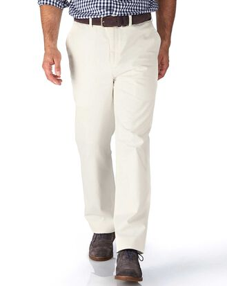White classic fit flat front washed chinos