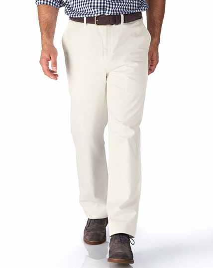 Chalk white classic fit flat front washed chinos