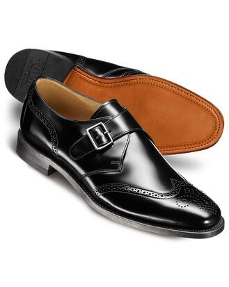 Black Goodyear welted brogue monk shoe