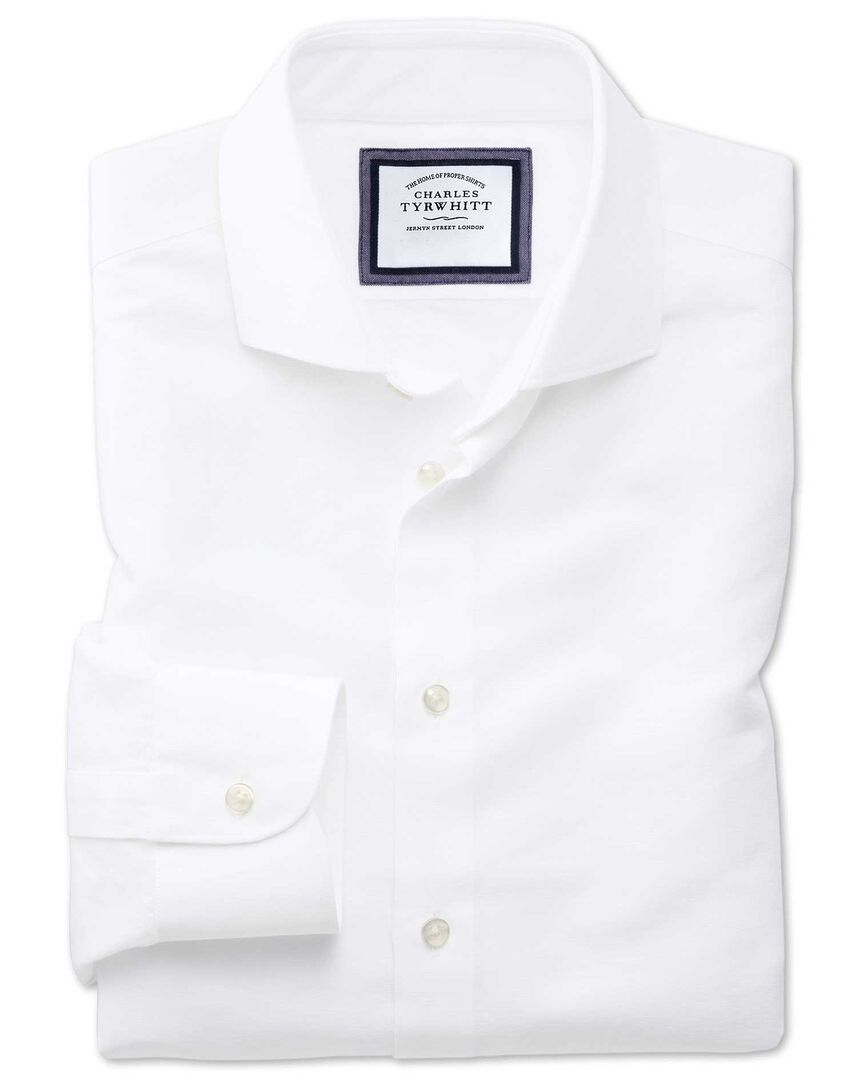 Extra slim fit spread collar business casual linen cotton white shirt