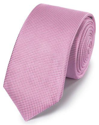 Schmale Krawatte mit Mini-Nadelpunkten in Rosa