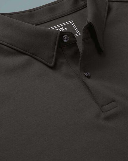 Polo anthracite uni en jersey à manches longues