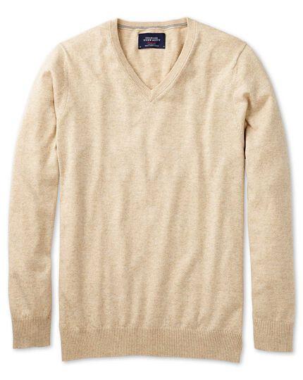 Stone cotton cashmere v-neck jumper