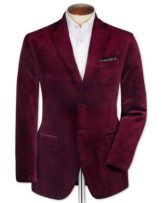 Slim fit burgundy velvet blazer