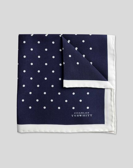 Classic Printed Spot Pocket Square - Navy & White