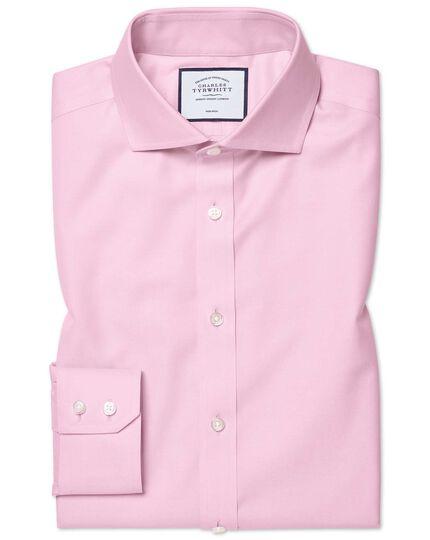 Slim fit pink non-iron twill cutaway collar shirt