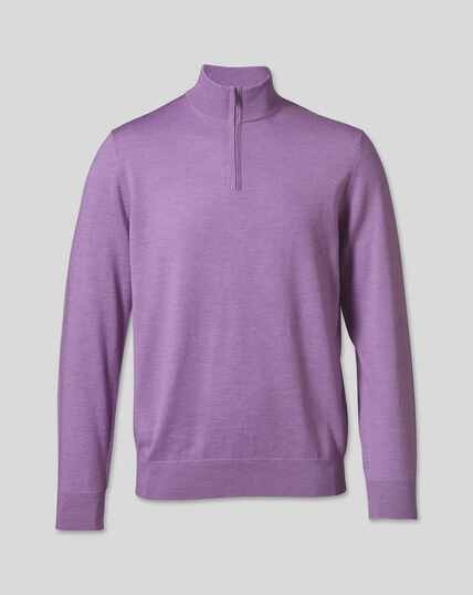 Merino Zip Neck Sweater - Lilac