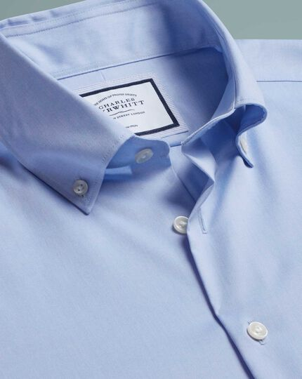 Bügelfreies Hemd mit Button-down-Kragen - Himmelblau