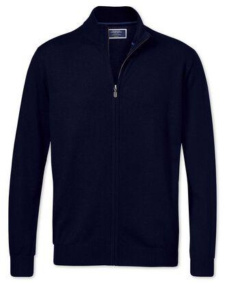 Gilet bleu marine zippé en laine mérinos
