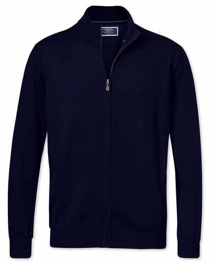 Navy merino wool zip through cardigan