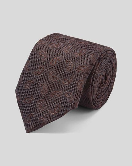 Silk Grenadine Jacquard Italian Luxury Tie - Brown