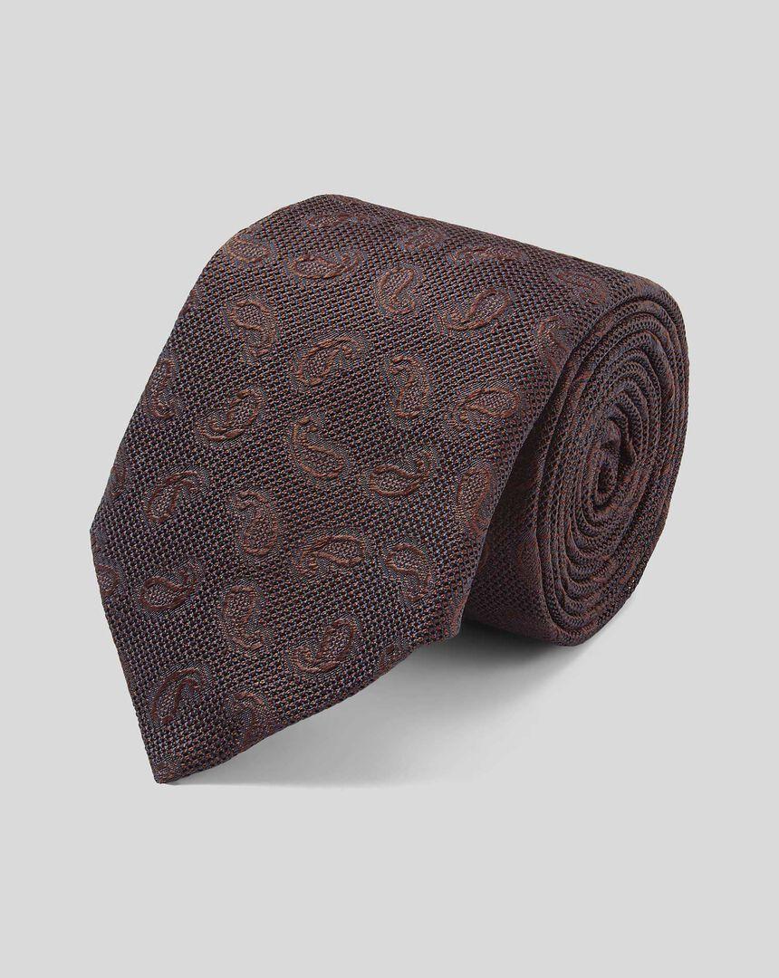 Top Drawer Grenadine Jacquard Italian Luxury Tie - Brown