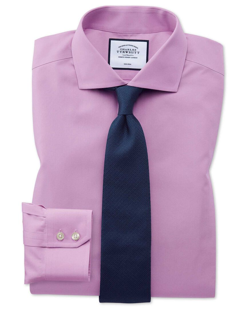 Non-Iron Poplin Spread Collar Shirt - Violet