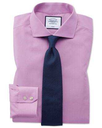 Bügelfreies Extra Slim Fit Popelinehemd mit Haifischkragen in Violett