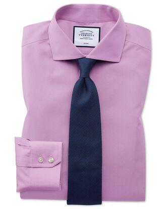 Extra slim fit non-iron spread collar violet poplin shirt