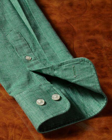 Slim Fit Hemd aus Baumwoll-Leinen in Grün