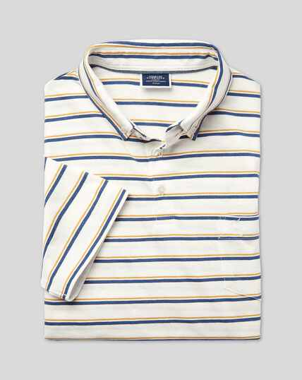 Tyrwhitt Organic Stripe Polo - Yellow & Blue