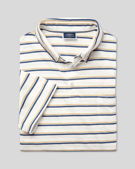Tyrwhitt Organic Stripe Polo - Yellow & Blue
