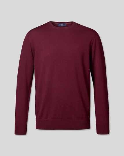 Merino Crew Neck Sweater - Burgundy