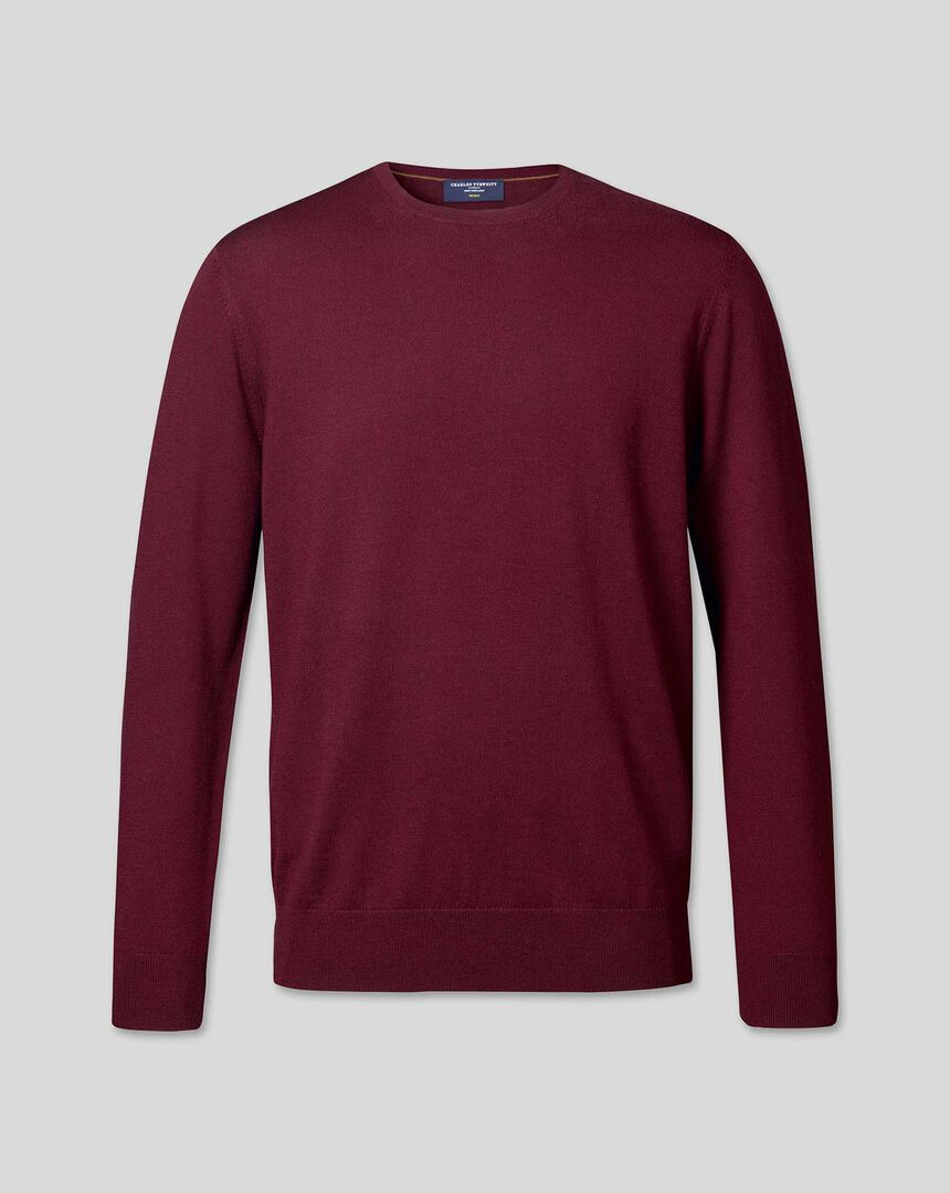 Merino Crew Neck Jumper - Burgundy