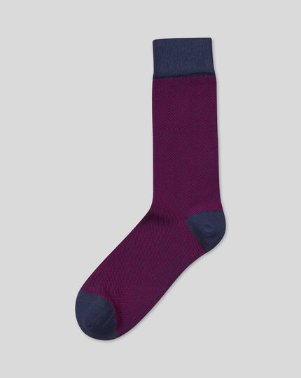 Semi-Plain Socks - Pink & Navy