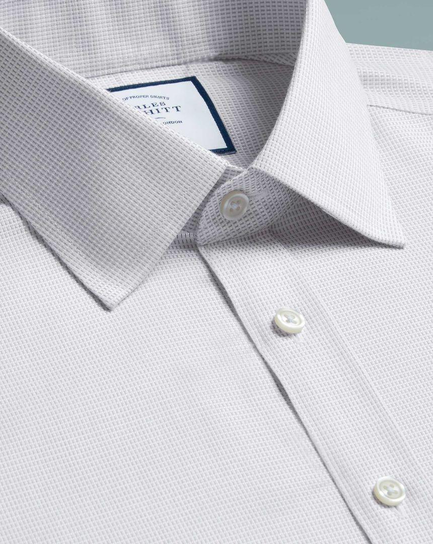 Slim fit non-iron dash weave grey shirt