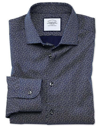 Classic fit business casual navy and white print shirt