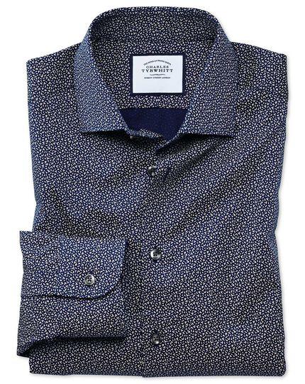 Slim Fit Business-Casual-Hemd mit Print in Marineblau und Weiß