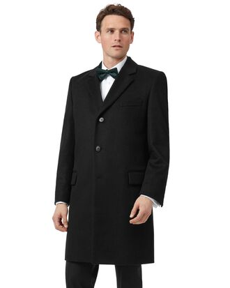Black wool and cashmere overcoat