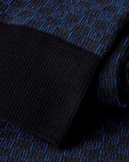 Jacquard Tile Socks - Navy