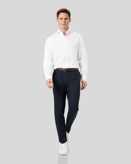 Smart Non-Iron Single Pleat Chinos - Navy