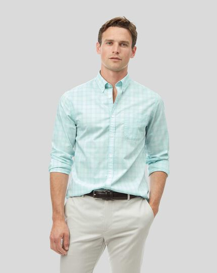 Vorgewaschenes Popeline-Hemd aus Stretchgewebe mit Button-down-Kragen und Karos - Hellgrün
