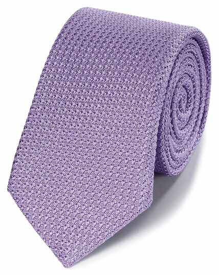 Violet silk plain grenadine Italian luxury tie