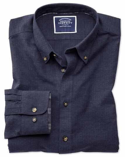 Plain Herringbone Melange Shirt - Blue