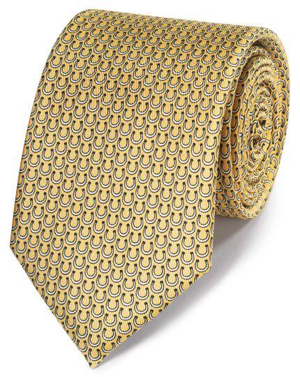 Klassische Krawatte mit Hufeisenmuster in Gelb