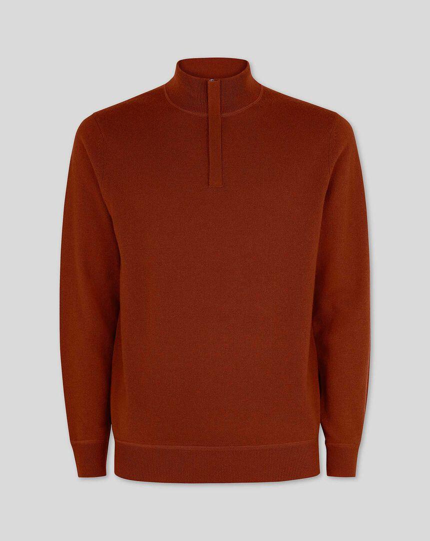 Burnt orange merino cashmere zip neck jumper