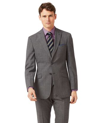 Grey slim fit jaspe check business suit jacket