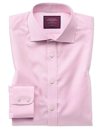 Slim fit luxury non-iron Prince of Wales check pink shirt