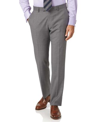 Pantalon de costume argent en tissu italien slim fit à effet quadrillé