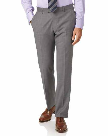 Silver slim fit cross hatch italian suit trousers